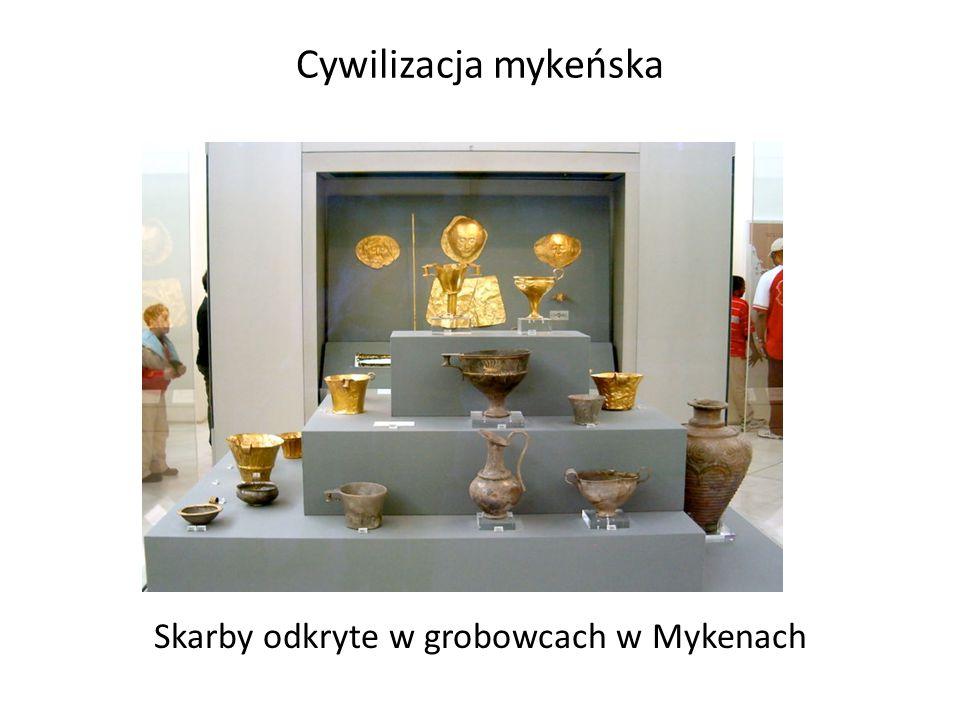 Skarby odkryte w grobowcach w Mykenach