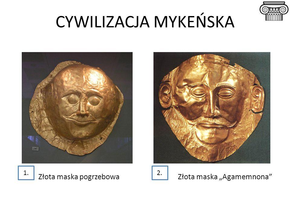 """CYWILIZACJA MYKEŃSKA Złota maska pogrzebowa Złota maska """"Agamemnona"""