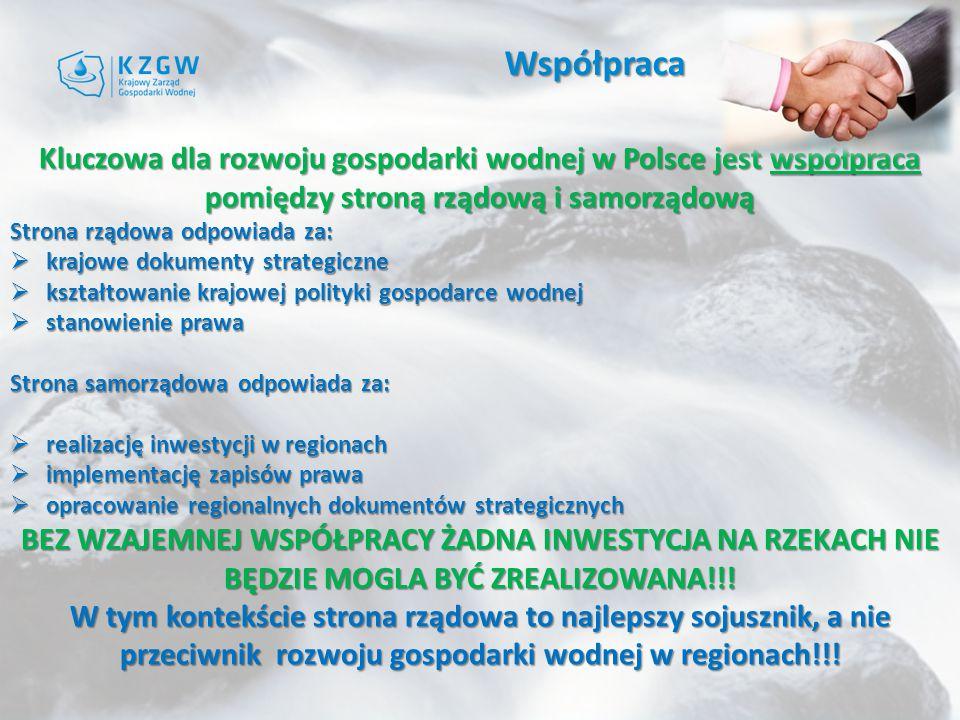 Współpraca Kluczowa dla rozwoju gospodarki wodnej w Polsce jest współpraca pomiędzy stroną rządową i samorządową.