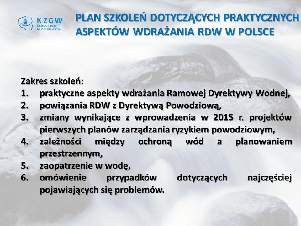 Plan szkoleń dotyczących praktycznych aspektów wdrażania RDW w Polsce