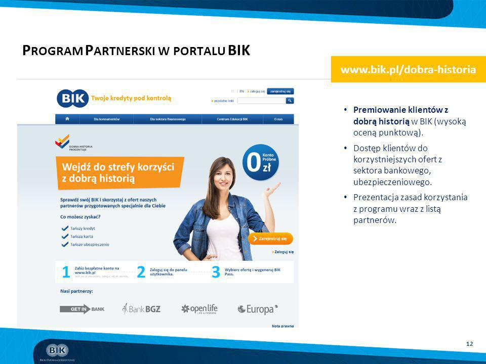 Program Partnerski w portalu BIK