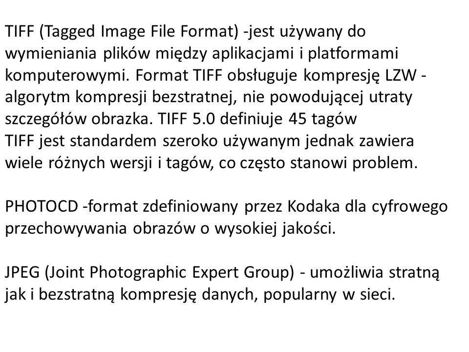 TIFF (Tagged Image File Format) -jest używany do wymieniania plików między aplikacjami i platformami komputerowymi. Format TIFF obsługuje kompresję LZW -algorytm kompresji bezstratnej, nie powodującej utraty szczegółów obrazka. TIFF 5.0 definiuje 45 tagów