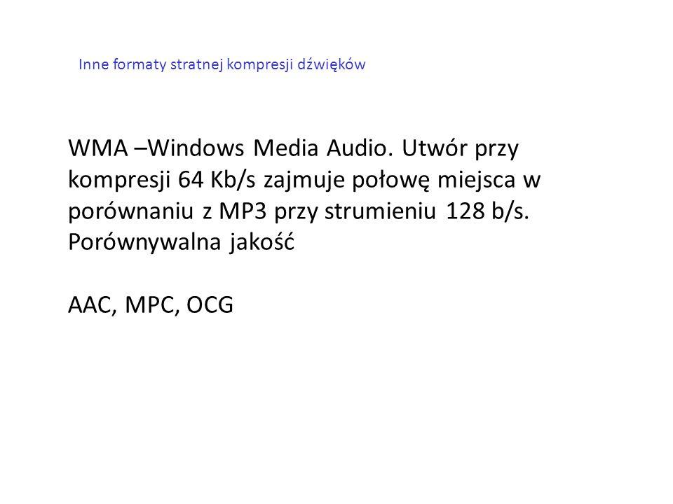 Inne formaty stratnej kompresji dźwięków