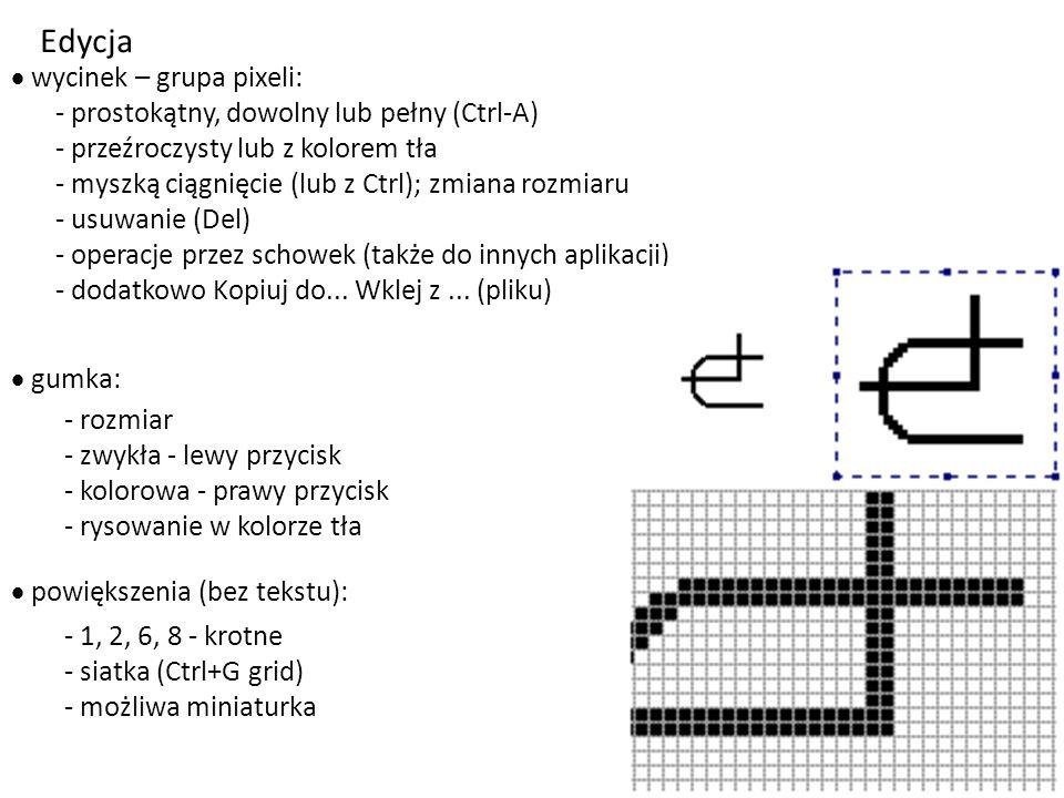 Edycja wycinek – grupa pixeli: