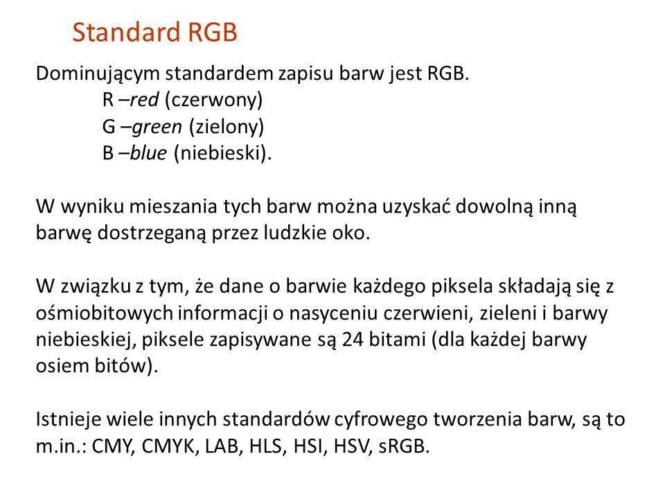 Standard RGB Dominującym standardem zapisu barw jest RGB.