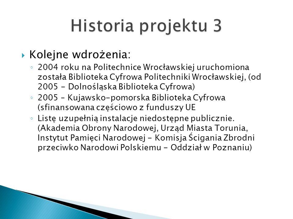 Historia projektu 3 Kolejne wdrożenia:
