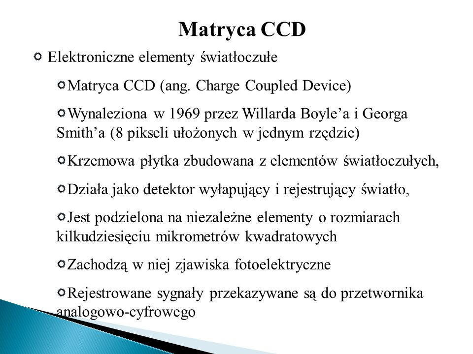 Matryca CCD Elektroniczne elementy światłoczułe