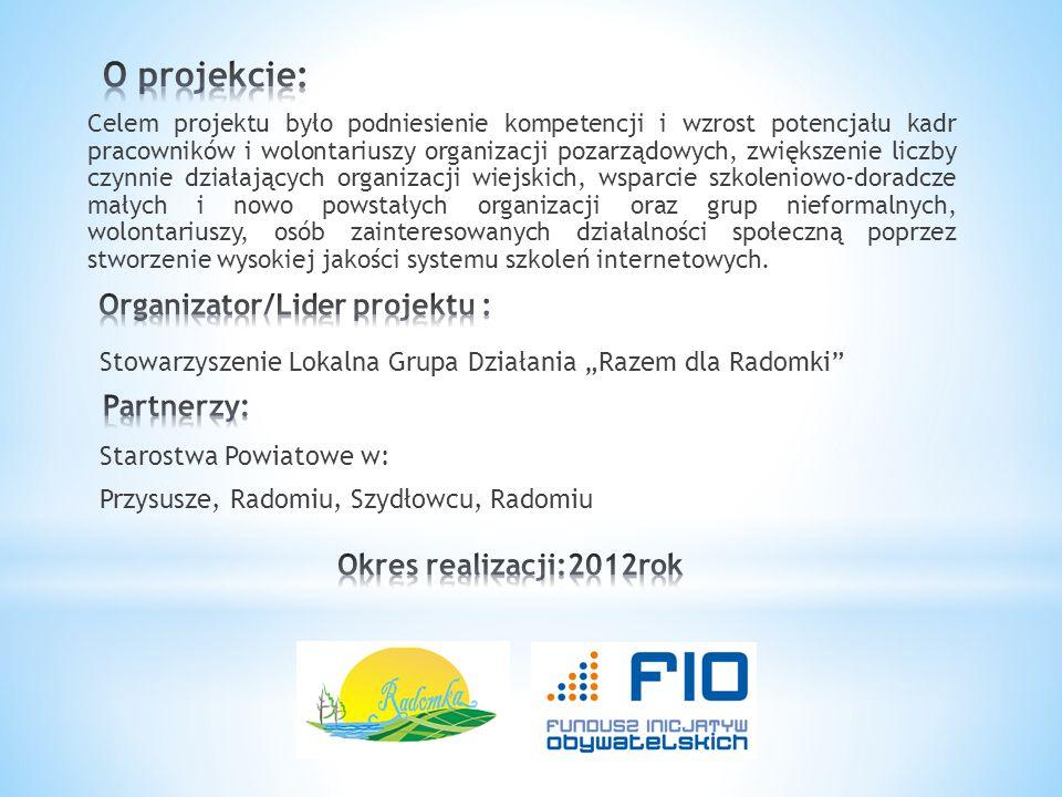 O projekcie: Organizator/Lider projektu : Partnerzy: