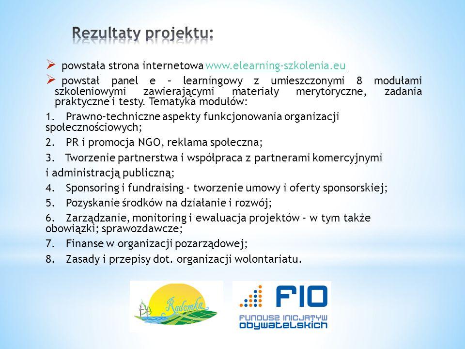 Rezultaty projektu: powstała strona internetowa www.elearning-szkolenia.eu.