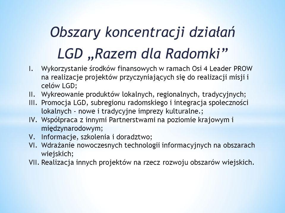 """Obszary koncentracji działań LGD """"Razem dla Radomki"""