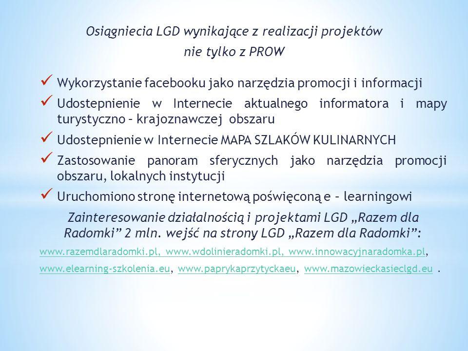 Osiągniecia LGD wynikające z realizacji projektów