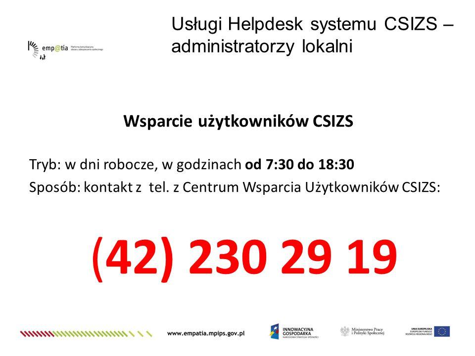 Wsparcie użytkowników CSIZS