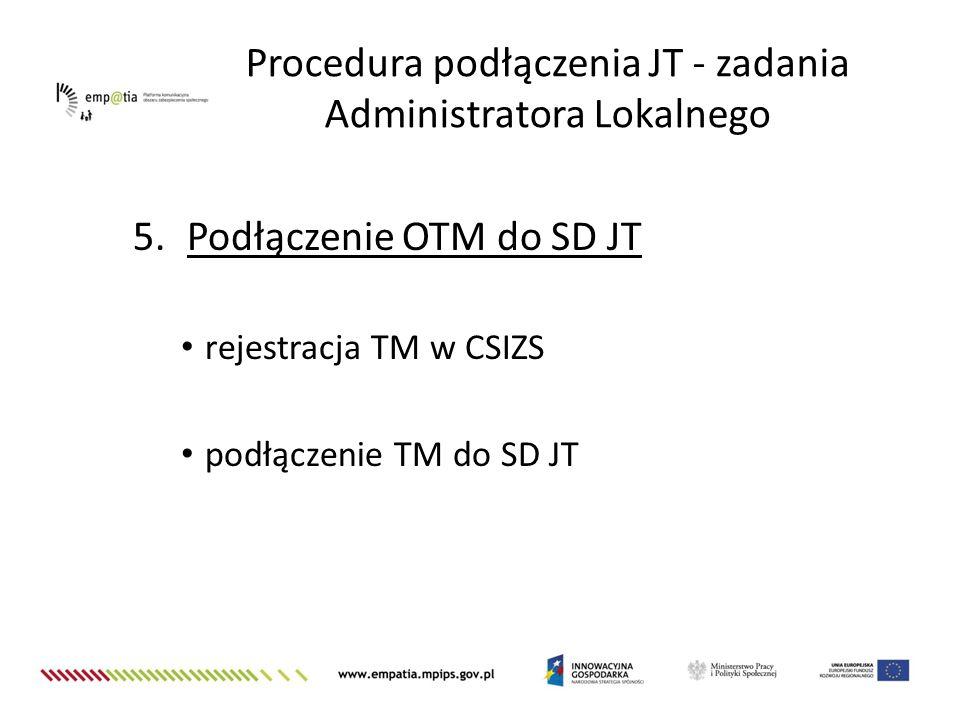 Procedura podłączenia JT - zadania Administratora Lokalnego