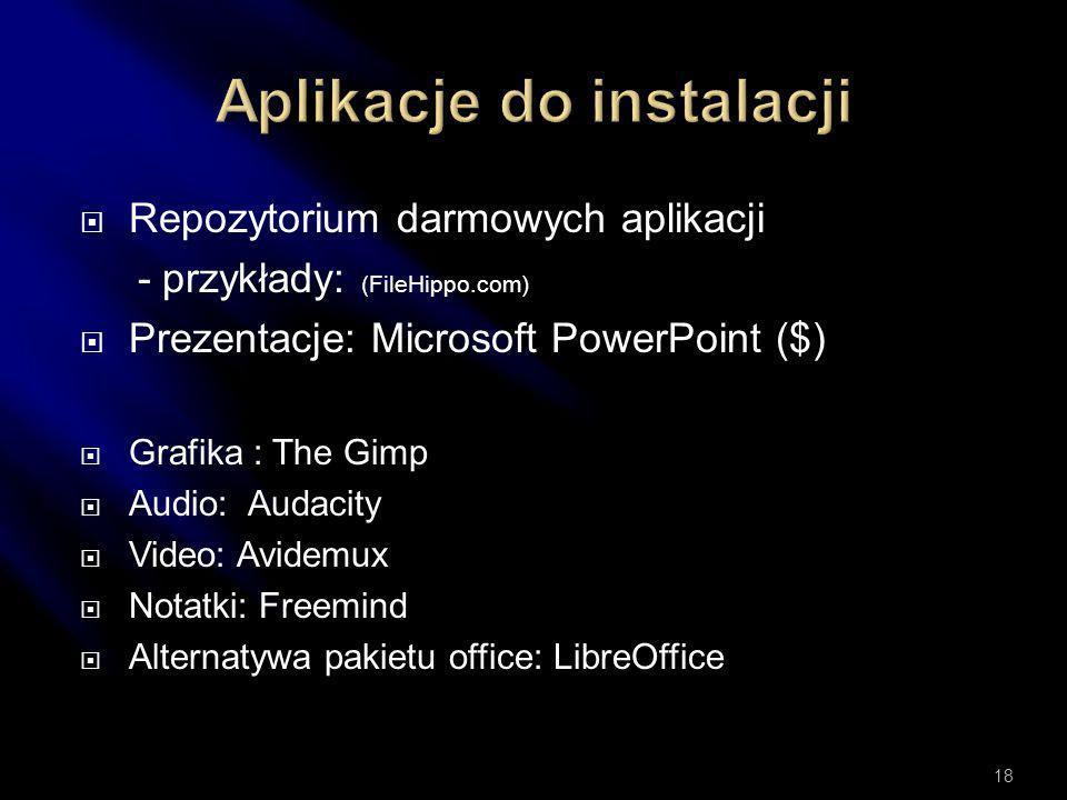 Aplikacje do instalacji