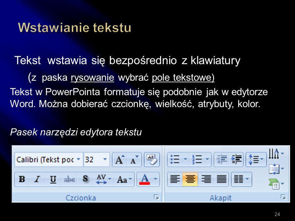 Wstawianie tekstu Tekst wstawia się bezpośrednio z klawiatury