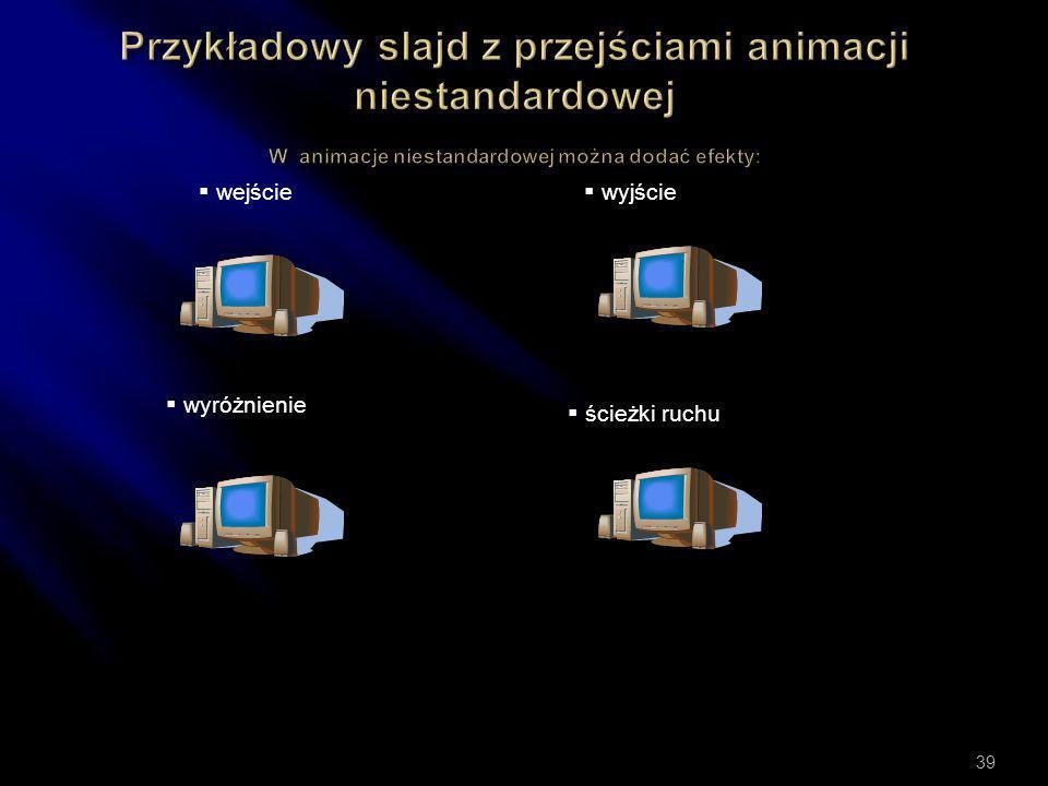 Przykładowy slajd z przejściami animacji niestandardowej W animacje niestandardowej można dodać efekty: