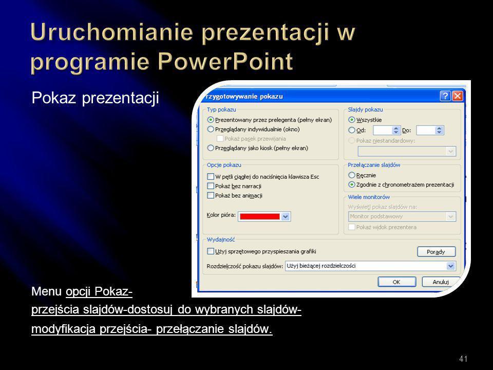 Uruchomianie prezentacji w programie PowerPoint