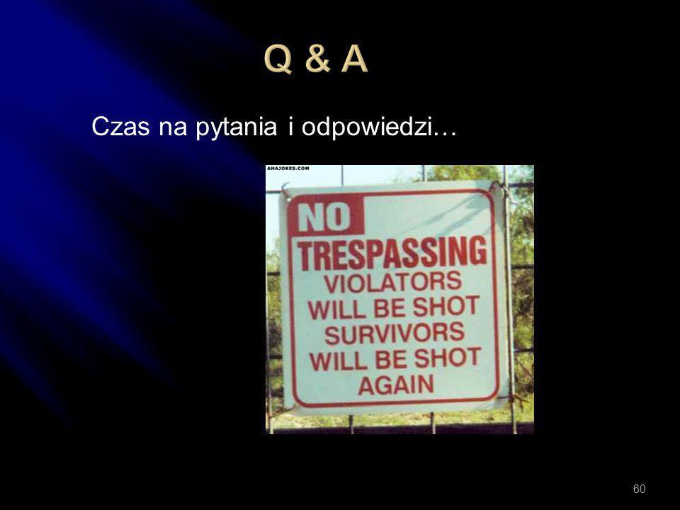 Q & A Czas na pytania i odpowiedzi…