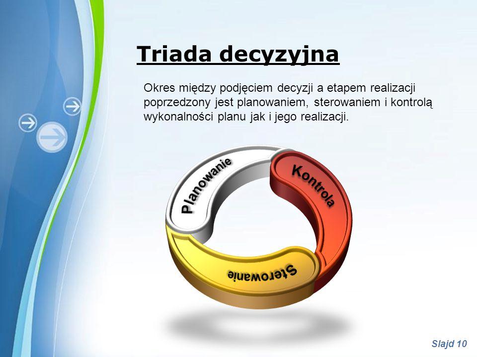 Triada decyzyjna Planowanie Kontrola Sterowanie