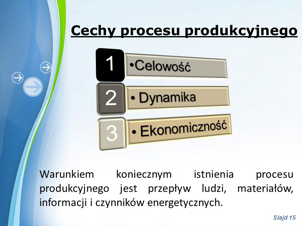 1 2 3 Celowość Dynamika Ekonomiczność Cechy procesu produkcyjnego