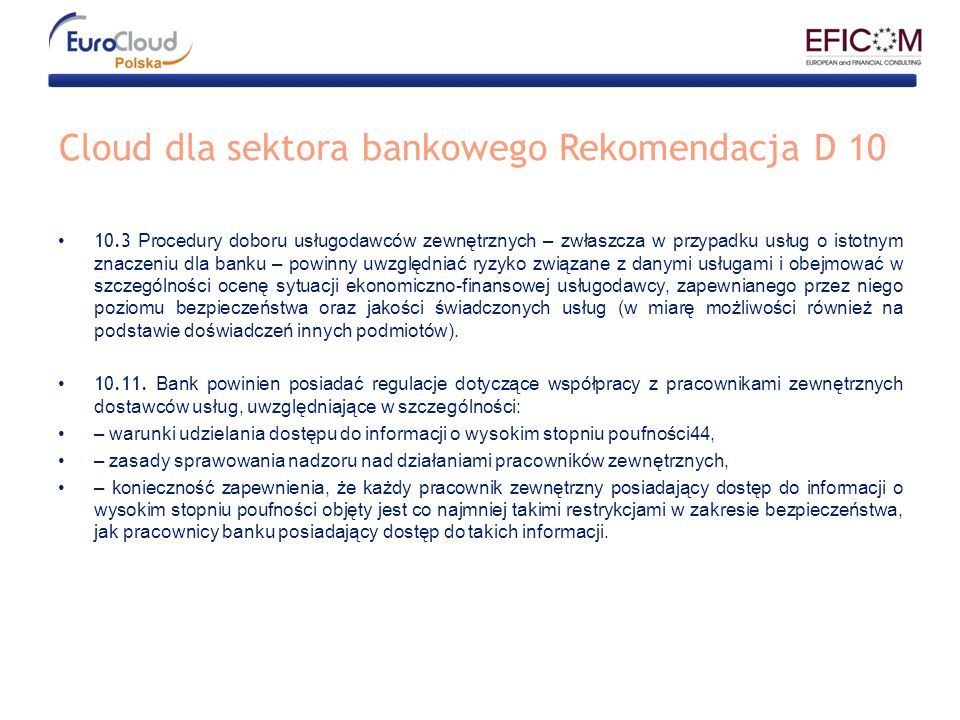 Cloud dla sektora bankowego Rekomendacja D 10