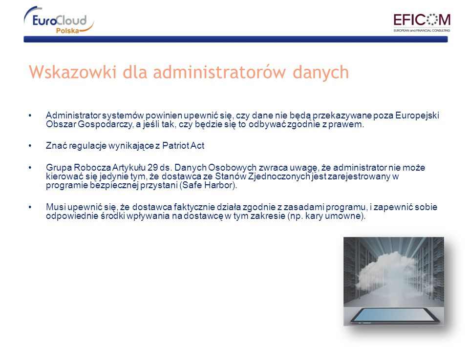 Wskazowki dla administratorów danych