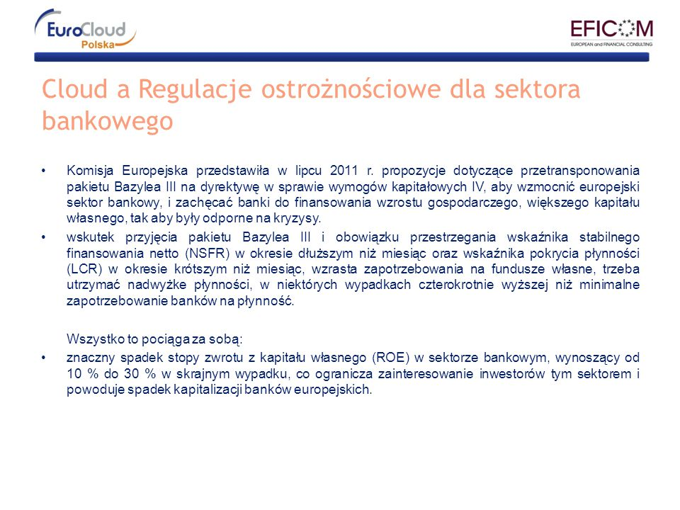 Cloud a Regulacje ostrożnościowe dla sektora bankowego