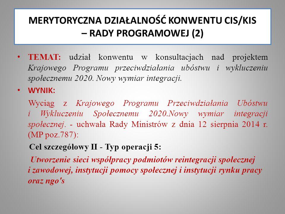 MERYTORYCZNA DZIAŁALNOŚĆ KONWENTU CIS/KIS – RADY PROGRAMOWEJ (2)