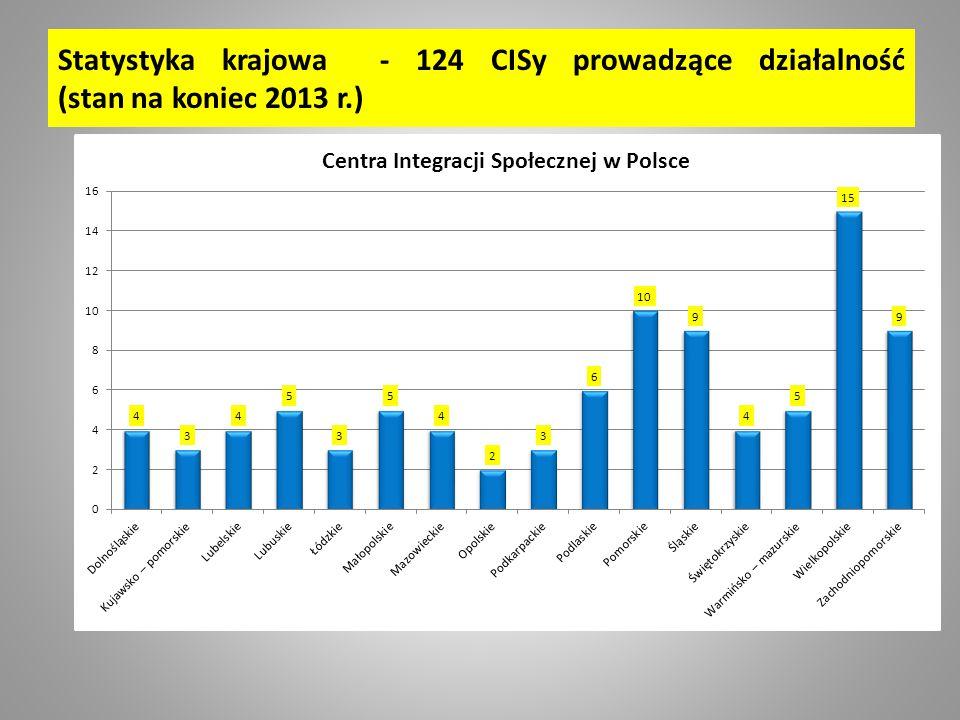 Statystyka krajowa - 124 CISy prowadzące działalność (stan na koniec 2013 r.)