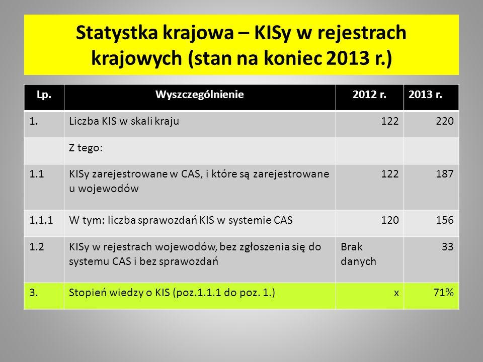 Statystka krajowa – KISy w rejestrach krajowych (stan na koniec 2013 r