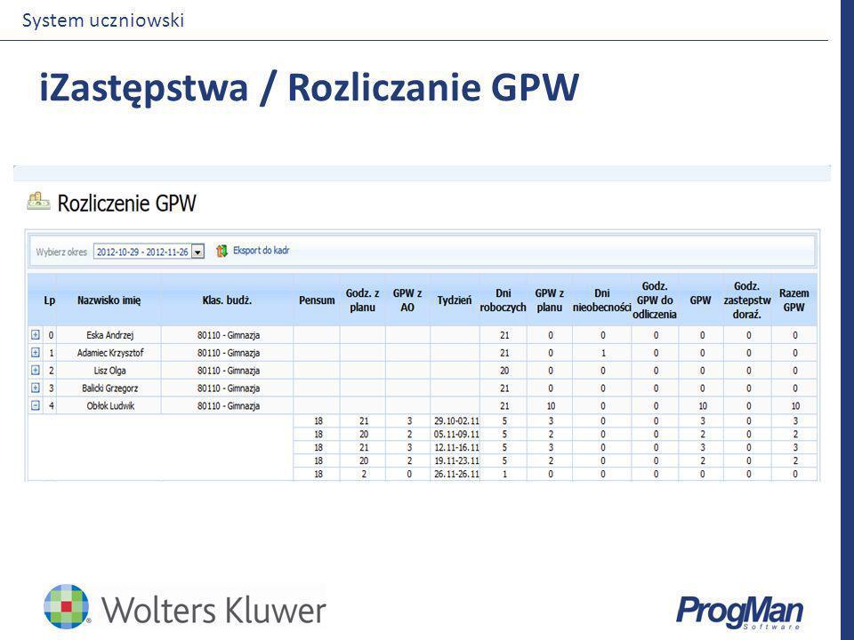 iZastępstwa / Rozliczanie GPW