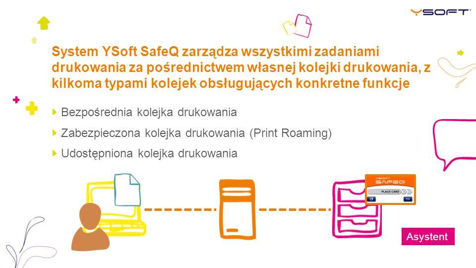 System YSoft SafeQ zarządza wszystkimi zadaniami drukowania za pośrednictwem własnej kolejki drukowania, z kilkoma typami kolejek obsługujących konkretne funkcje
