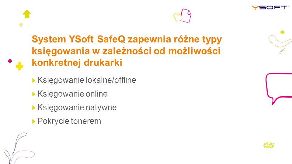 System YSoft SafeQ zapewnia różne typy księgowania w zależności od możliwości konkretnej drukarki
