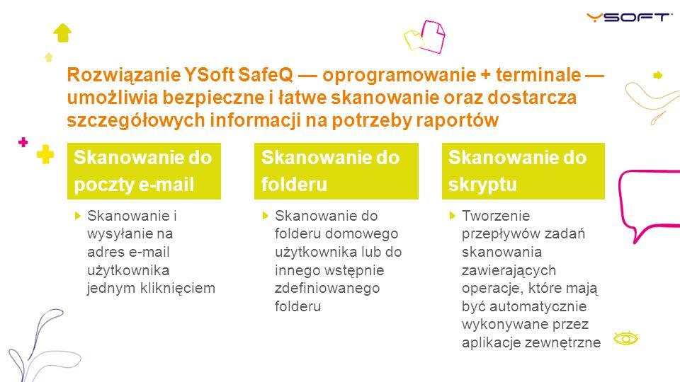 Rozwiązanie YSoft SafeQ — oprogramowanie + terminale — umożliwia bezpieczne i łatwe skanowanie oraz dostarcza szczegółowych informacji na potrzeby raportów