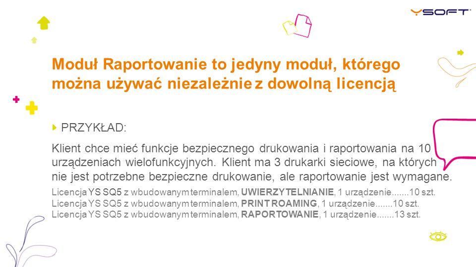 Moduł Raportowanie to jedyny moduł, którego można używać niezależnie z dowolną licencją
