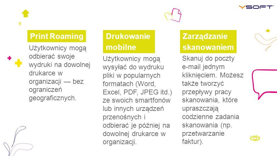 Print Roaming Drukowanie mobilne Zarządzanie skanowaniem
