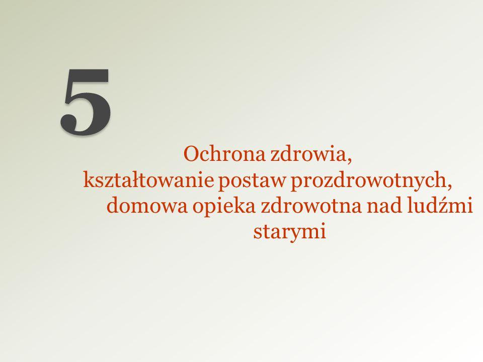 5 Ochrona zdrowia, kształtowanie postaw prozdrowotnych, domowa opieka zdrowotna nad ludźmi starymi.
