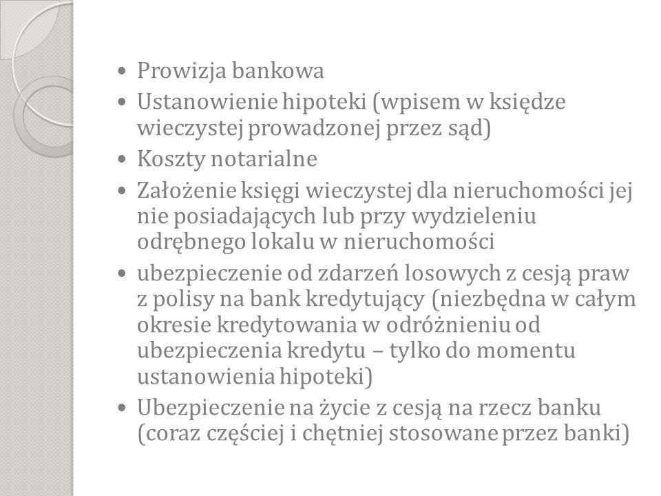 Prowizja bankowa Ustanowienie hipoteki (wpisem w księdze wieczystej prowadzonej przez sąd) Koszty notarialne.