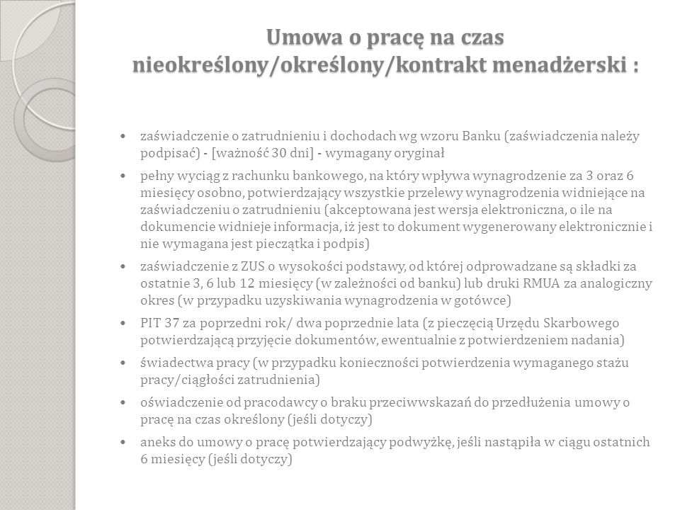 Umowa o pracę na czas nieokreślony/określony/kontrakt menadżerski :