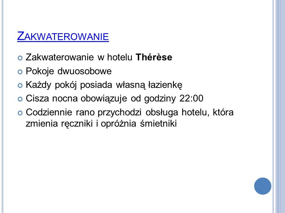 Zakwaterowanie Zakwaterowanie w hotelu Thérèse Pokoje dwuosobowe