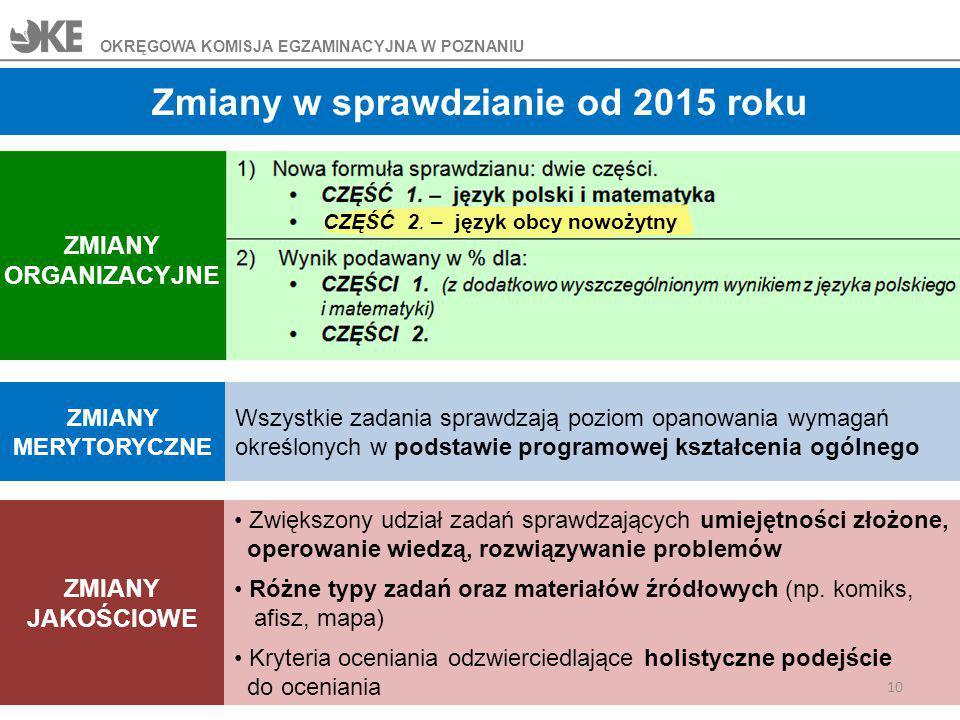 Zmiany w sprawdzianie od 2015 roku