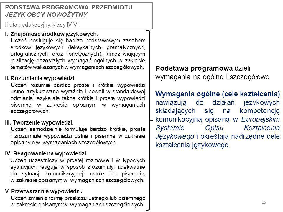 Podstawa programowa dzieli wymagania na ogólne i szczegółowe.