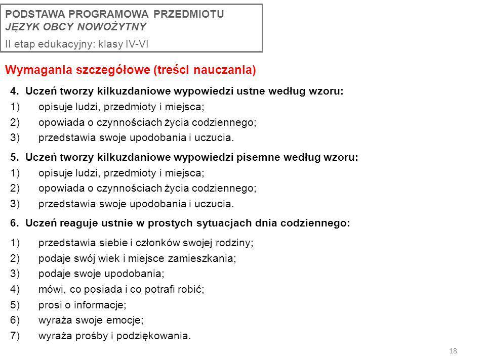 Wymagania szczegółowe (treści nauczania)