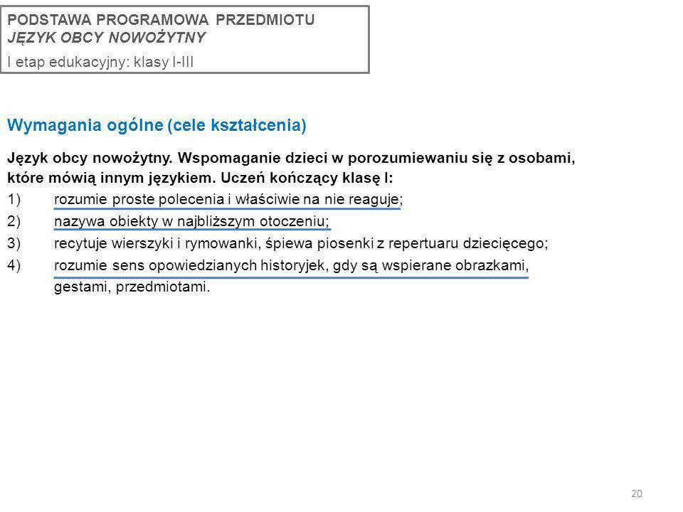 Wymagania ogólne (cele kształcenia)