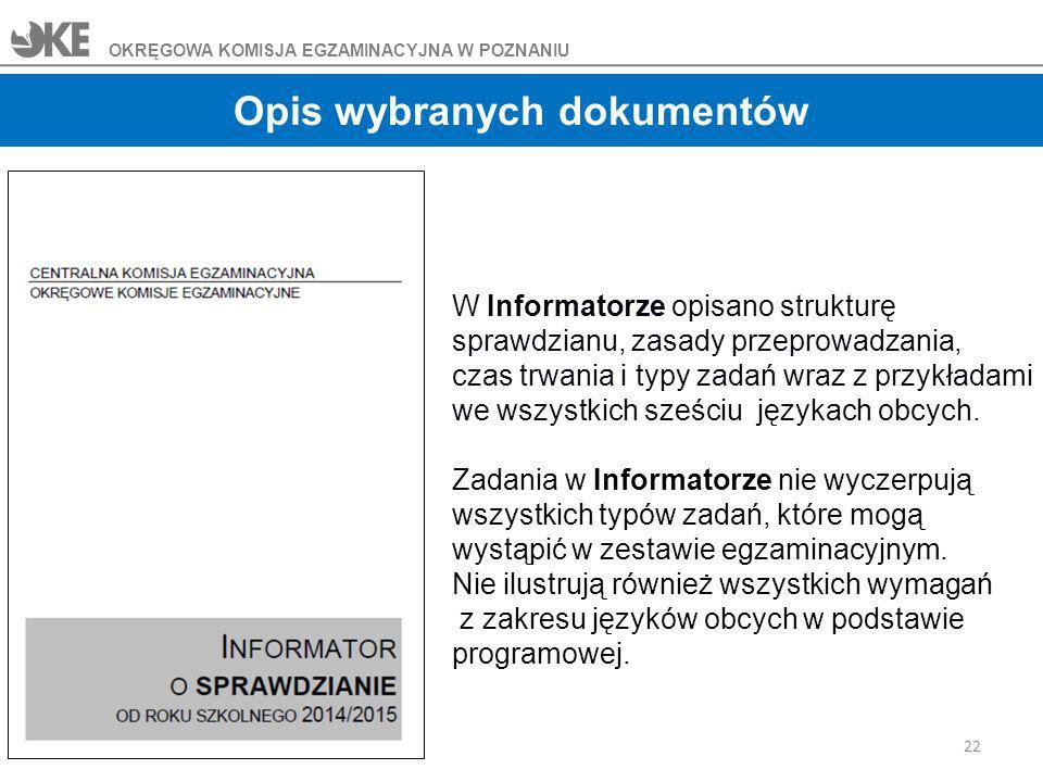 Opis wybranych dokumentów