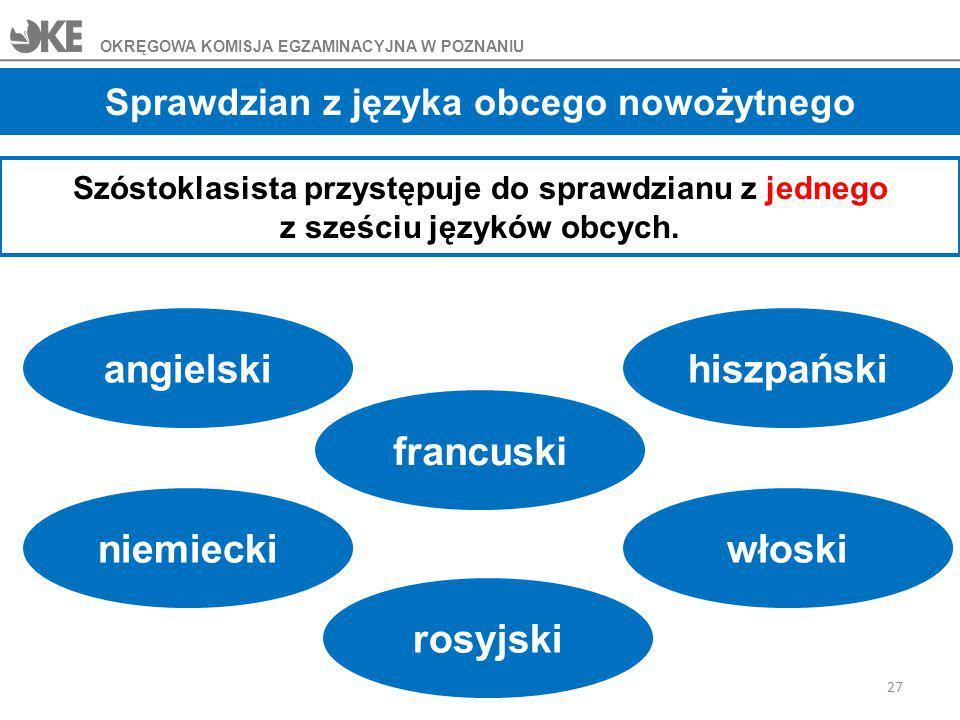 Sprawdzian z języka obcego nowożytnego