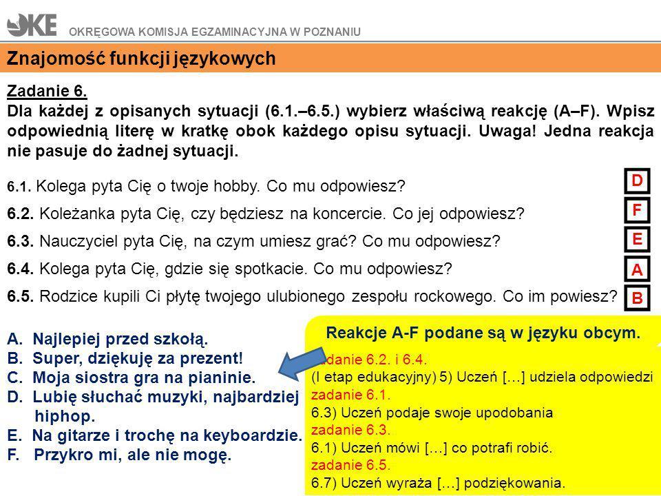 Reakcje A-F podane są w języku obcym.