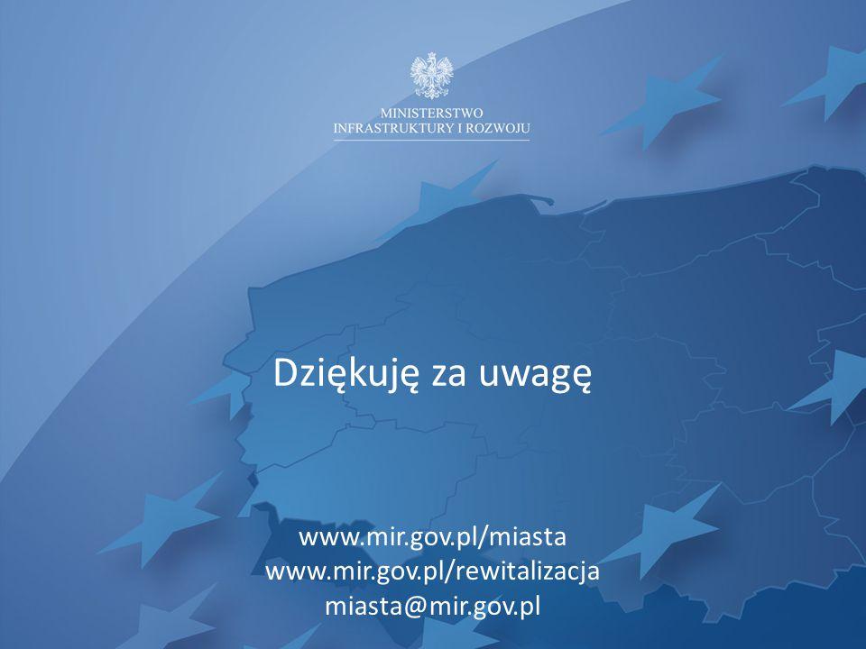 Dziękuję za uwagę www.mir.gov.pl/miasta www.mir.gov.pl/rewitalizacja