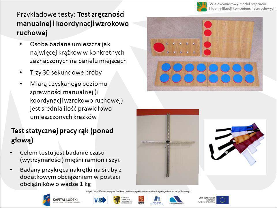 Test statycznej pracy rąk (ponad głową)