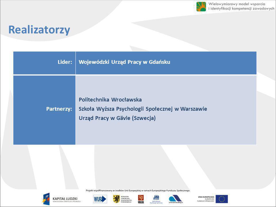 Realizatorzy Lider: Wojewódzki Urząd Pracy w Gdańsku Partnerzy: